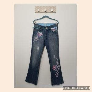 Alberto Makali floral embroidered jeans size 8